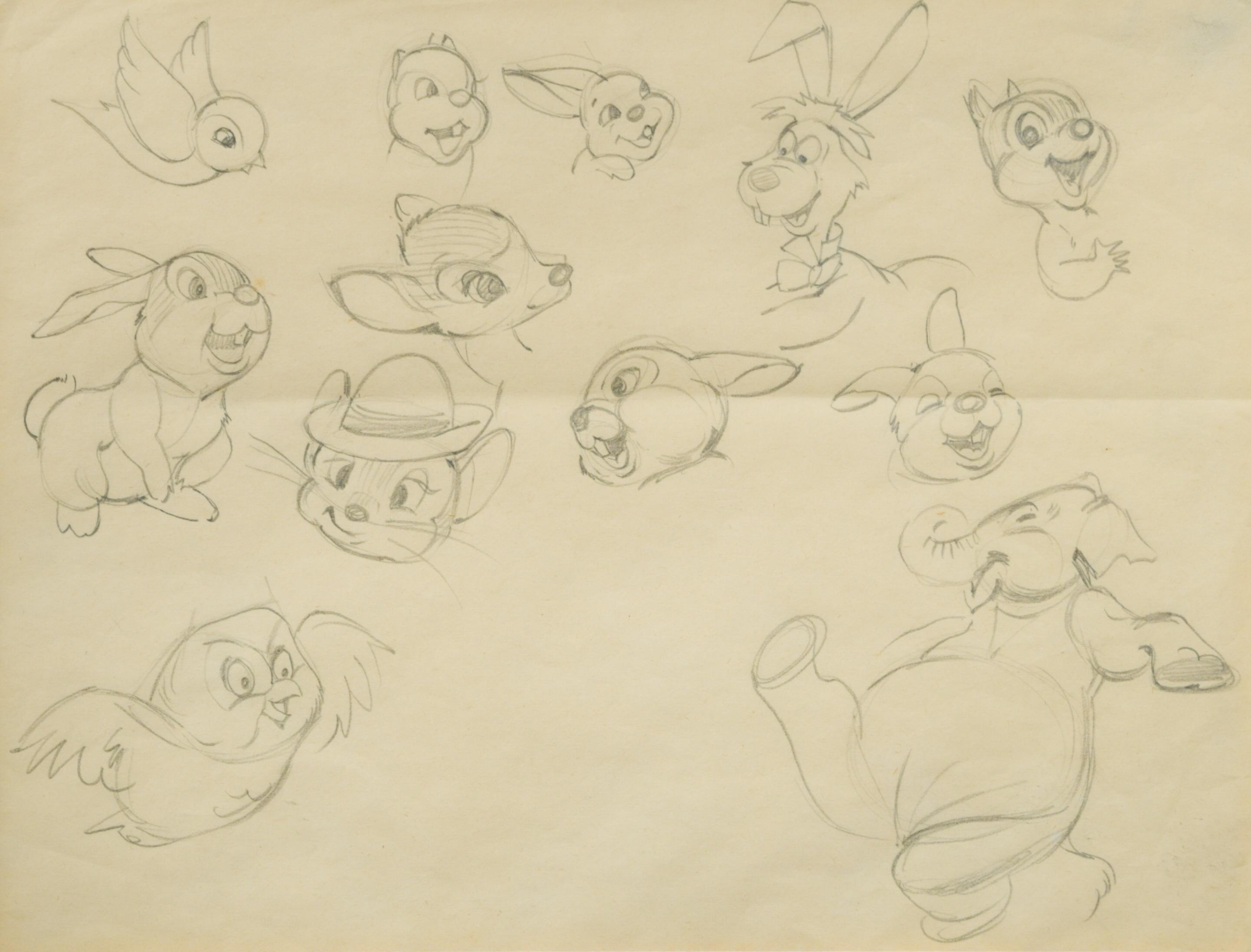 Kenneth Beeley for Walt Disney, studies of various Disney characters, circa 1949,