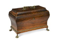 An rosewood tea caddy, early 19th century,