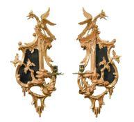 A pair of giltwood girandoles, 18th century,