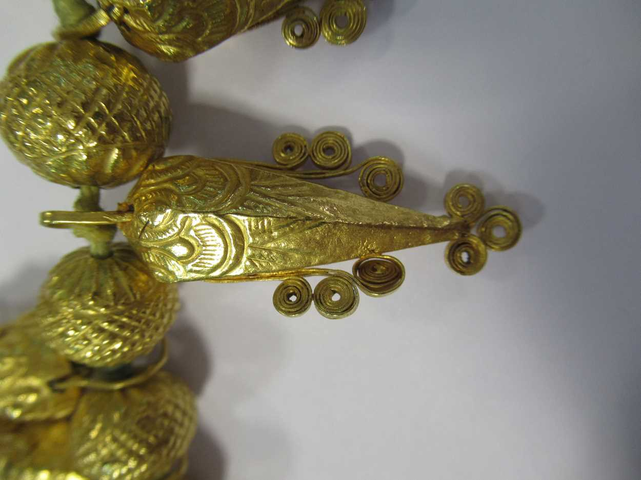 An Indian wax filled bead necklace, tested as 22ct gold, gross weight 83.2g, together with a - Image 12 of 14