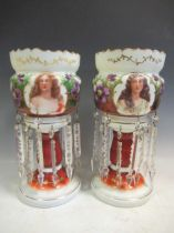 A pair of late 19th century continental opaque white glass lustres, each printed and painted with