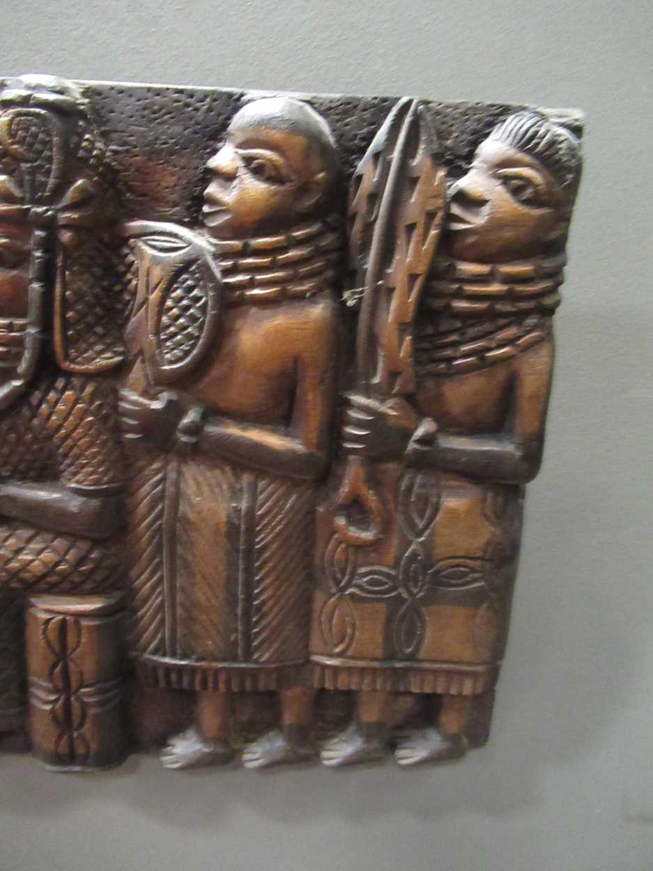 A Benin carved wood rectangular casket table 64 x 97 x 61cm together with a Benin carved wood - Image 7 of 10