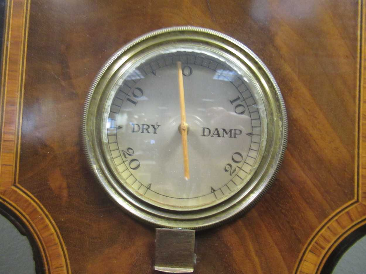 A Regency mahogany wheel barometer, maker Blandford, with silvered dial, the case with boxwood and - Image 8 of 10