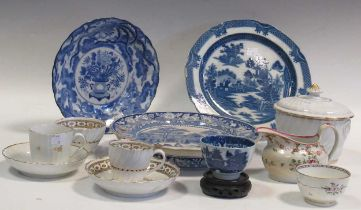 A Dresden style two handled cup and saucer, other continental decorative ceramics, an 18th century