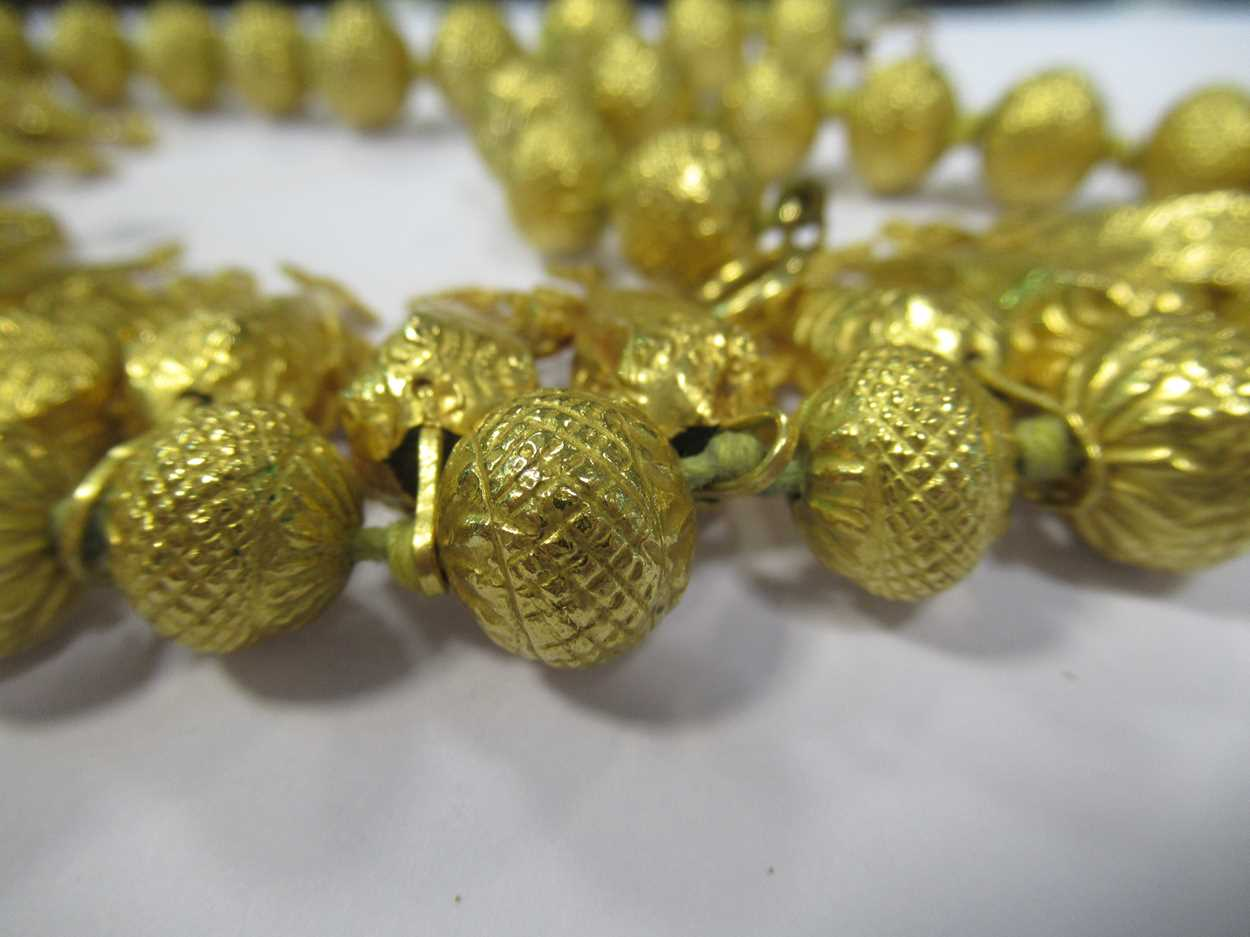 An Indian wax filled bead necklace, tested as 22ct gold, gross weight 83.2g, together with a - Image 13 of 14