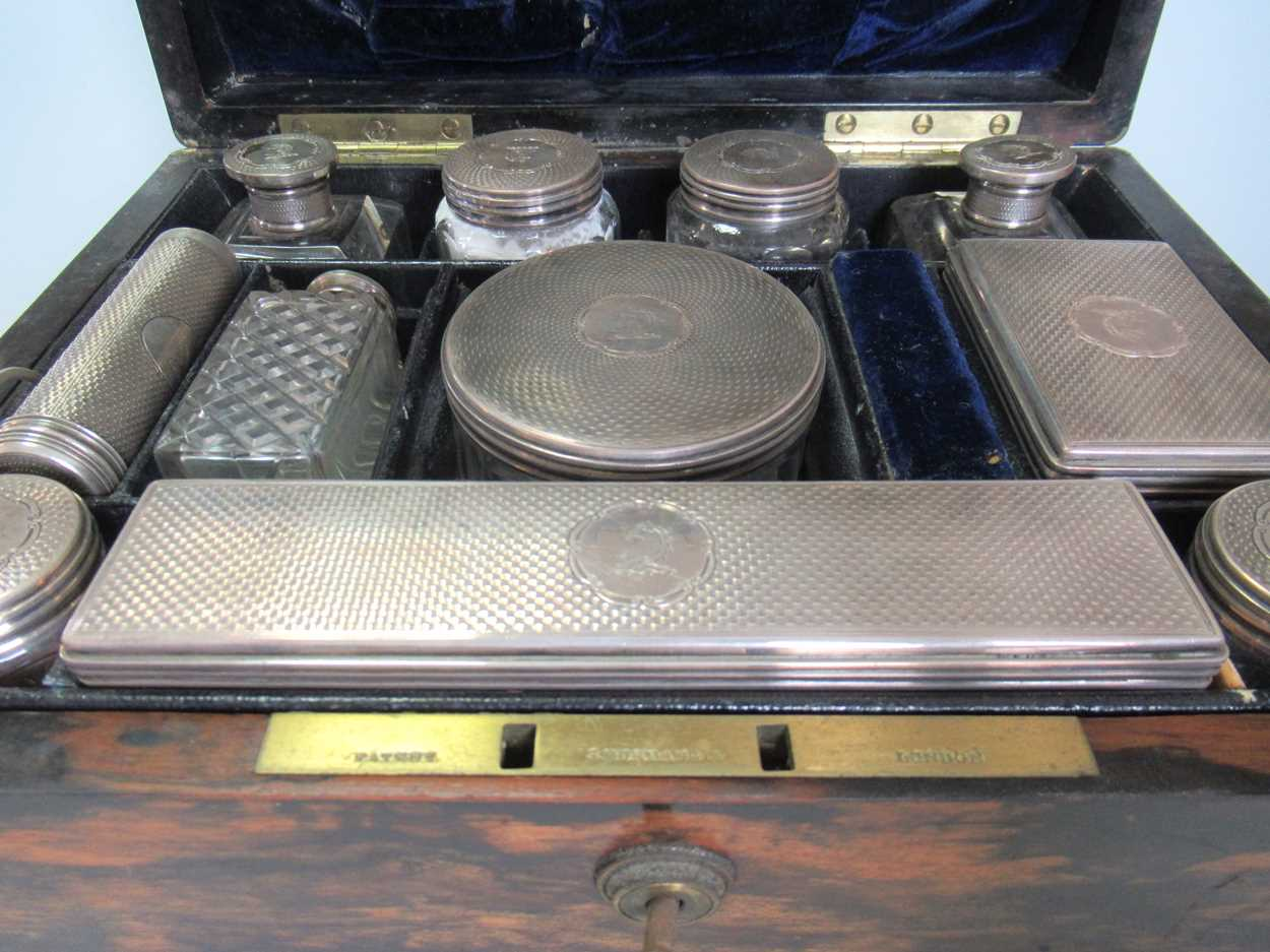 A coromandel fitted travelling dressing table box marked S.Mordan & Co, with brass plate engraved - Image 5 of 10