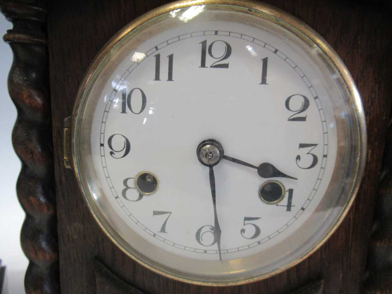 An oak 8-day mantle clock and a slate mantle clock (2) - Image 3 of 7