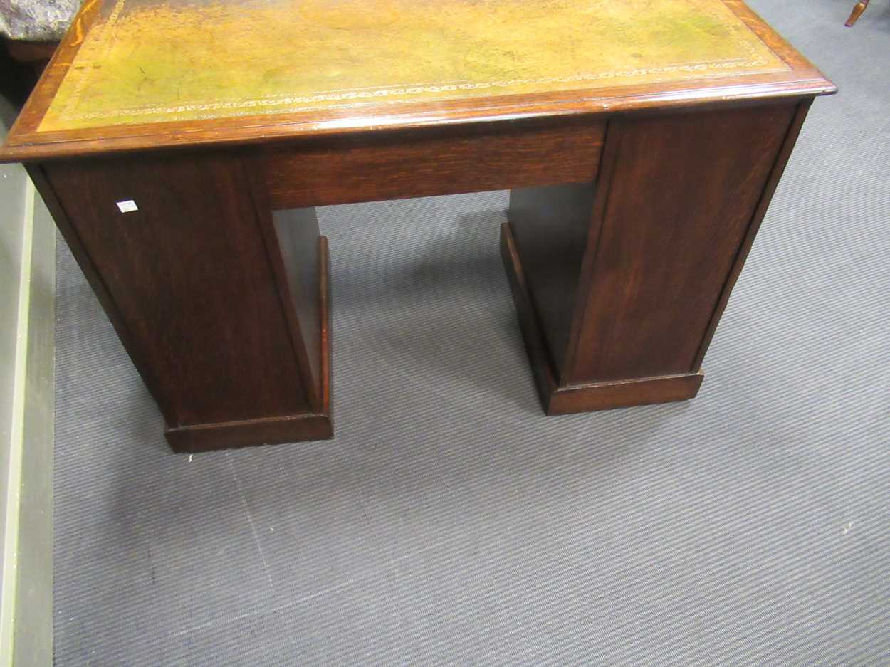 """A late Victorian oak twin pedestal writing desk stamped """"1209 Wilkinson & Son 8 Old Bond Street"""" the - Image 2 of 9"""