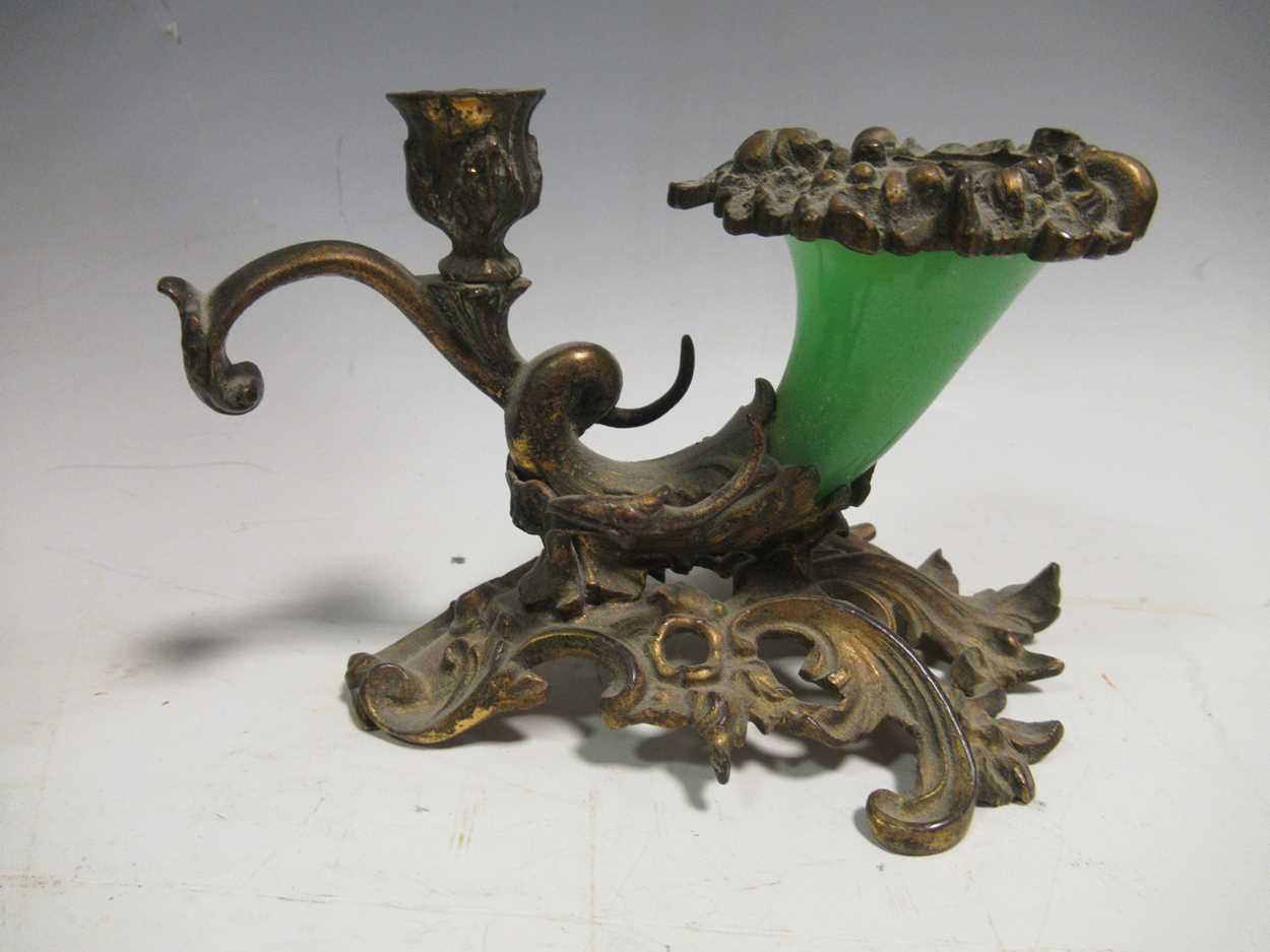 A gilt metal an onyx folding photograph frame, gilt metal mounted and glass vase, green glass - Image 5 of 17