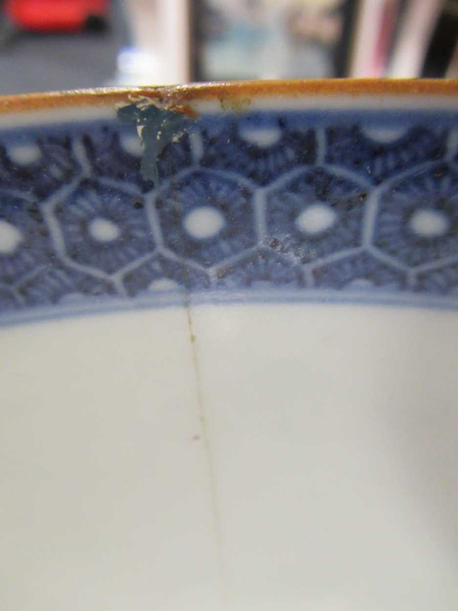 Two Chinese 18th century polychrome bowls, each decorated with courtesans, 29cm and 26cm - Image 8 of 17