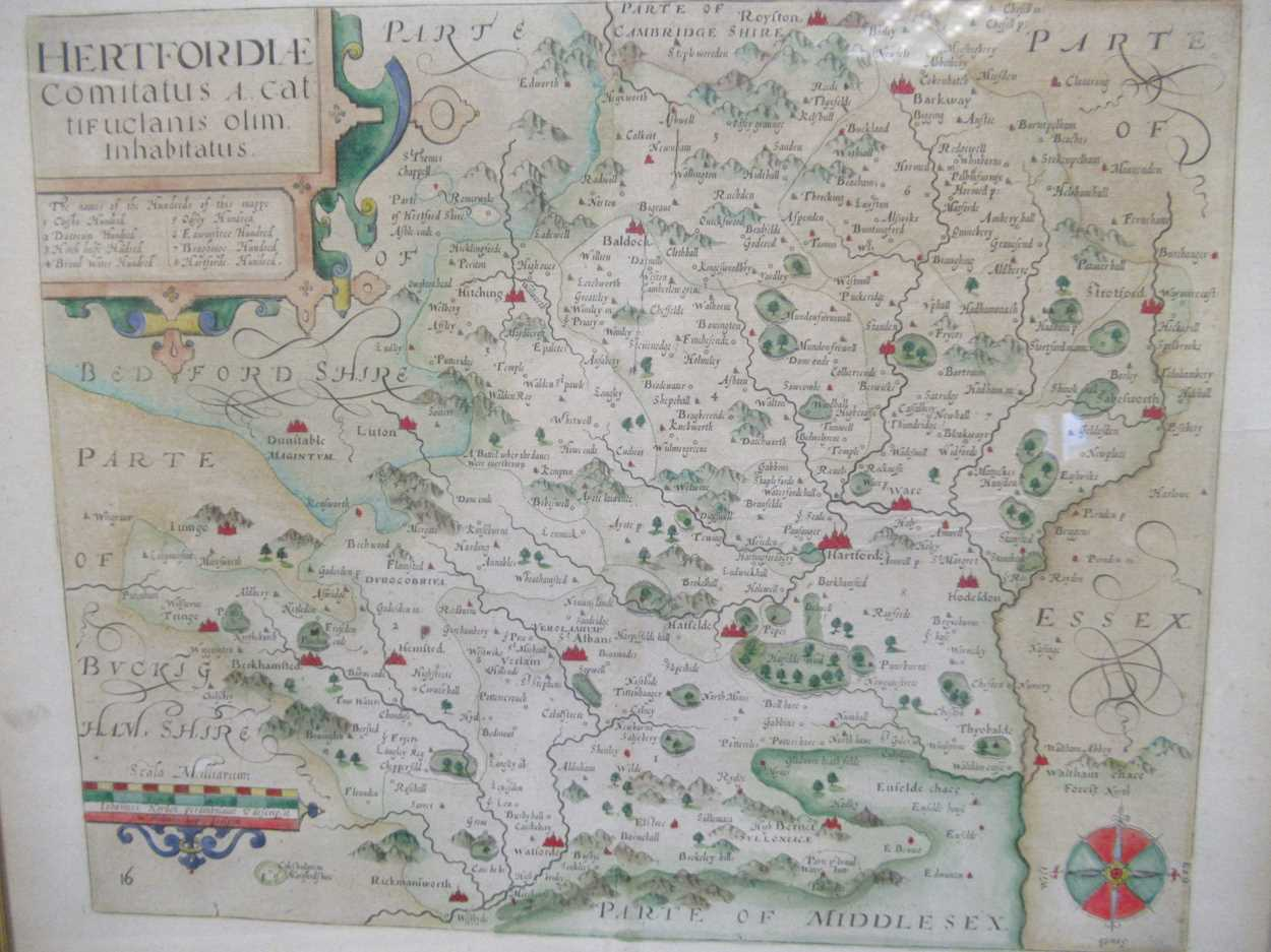 Robert Morden map of Hertfordshire, a 1612 map of Hertfordshire, a Johnannes Norden map of - Image 3 of 8