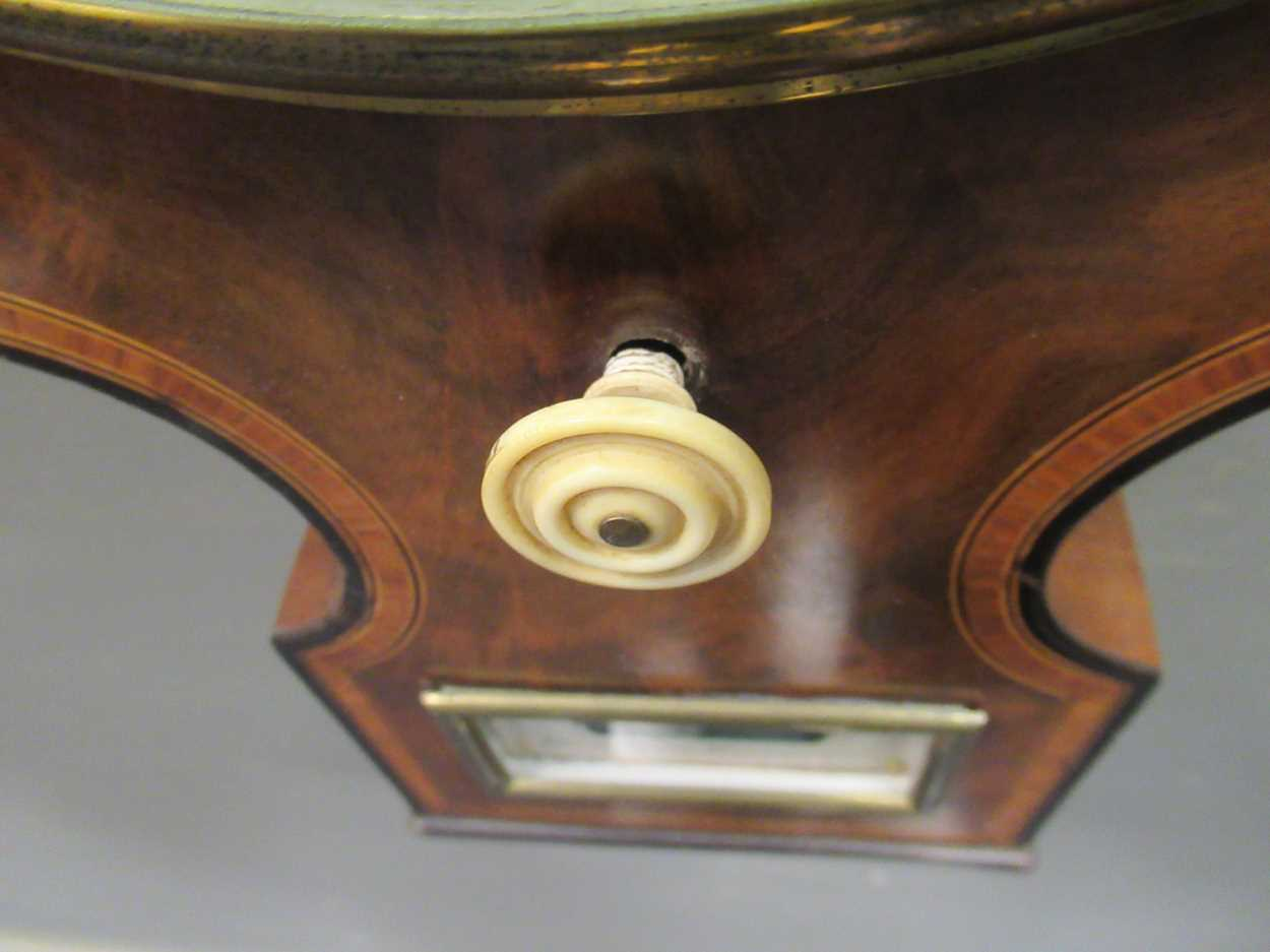 A Regency mahogany wheel barometer, maker Blandford, with silvered dial, the case with boxwood and - Image 3 of 10