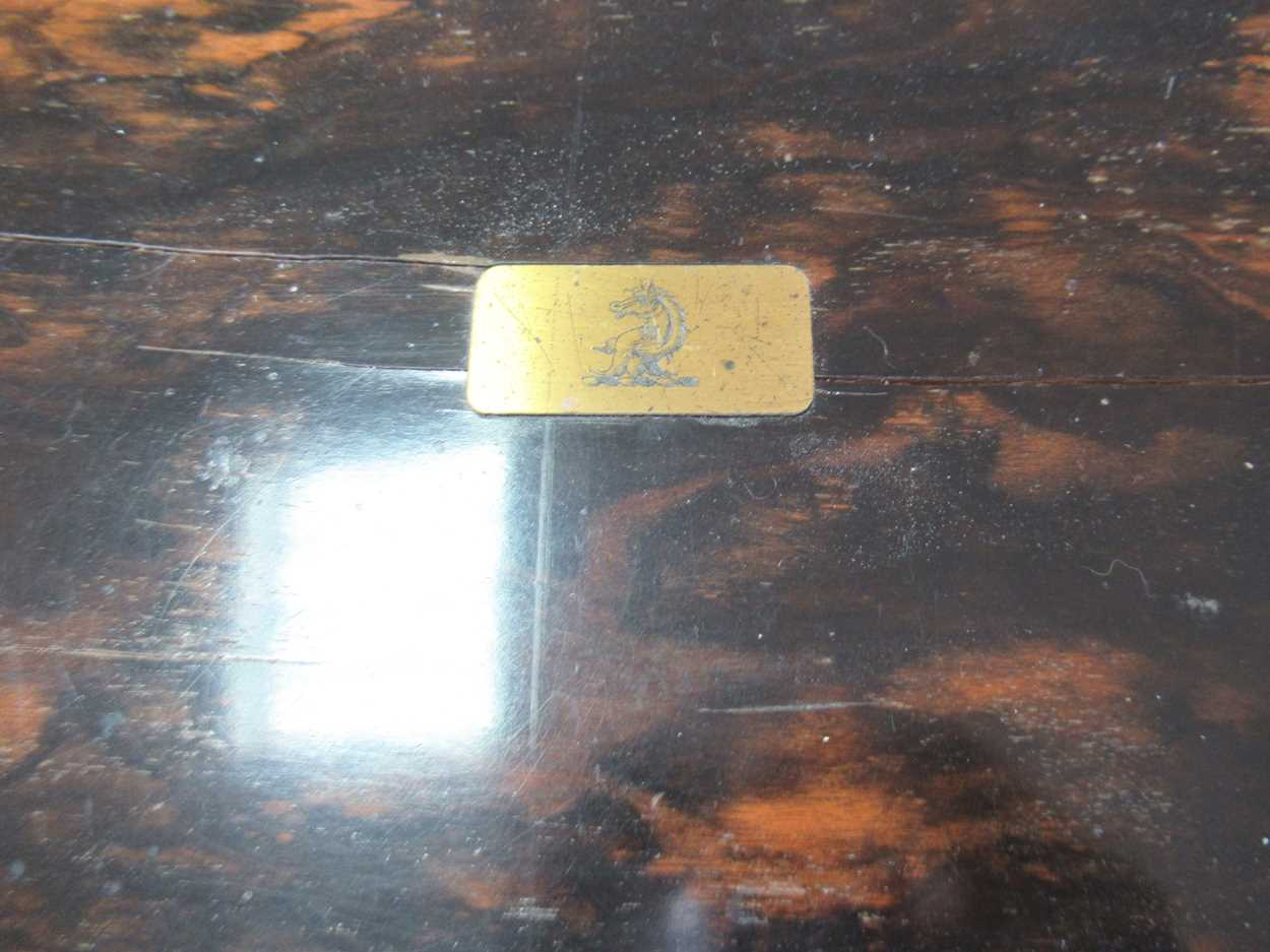 A coromandel fitted travelling dressing table box marked S.Mordan & Co, with brass plate engraved - Image 8 of 10