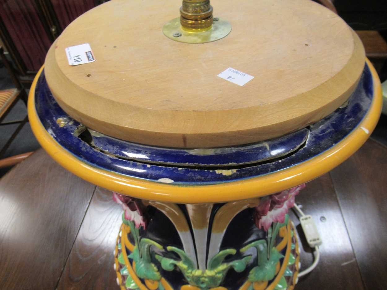 Minton majolica jardiniere stand converted to a light, impressed mark, 46cm high (top broken) - Image 13 of 14