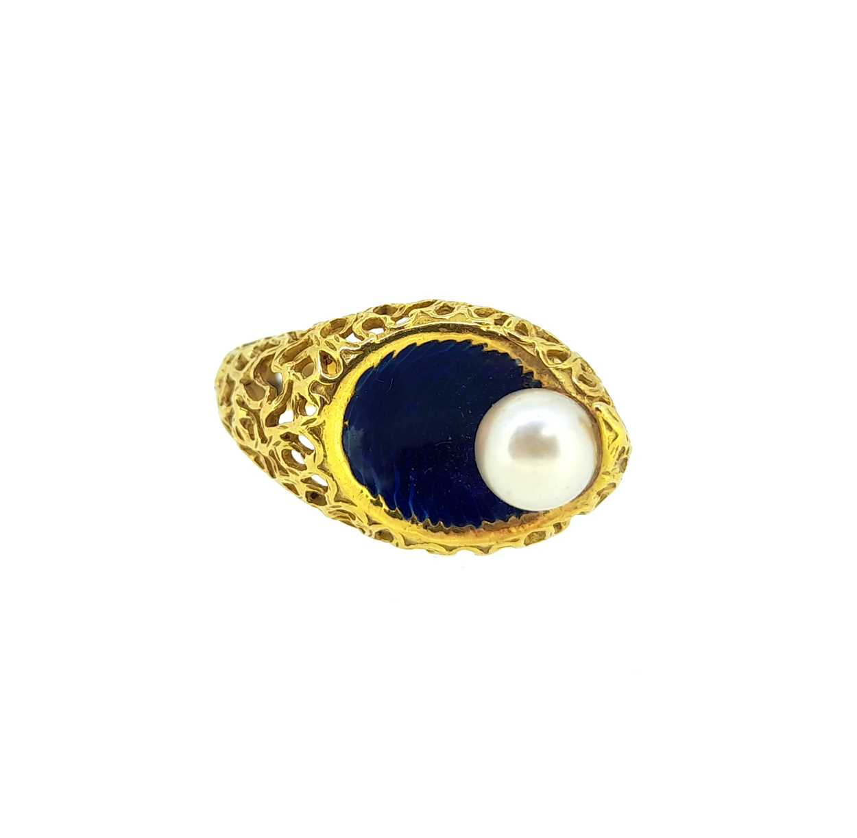 A modern enamel and pearl ring, set with a 6.2mm cultured pearl to one side, size O, unhallmarked, - Image 4 of 8