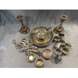 A quantity of silver napkin rings and small dishes 11.9ozt gross, together with a silver plated