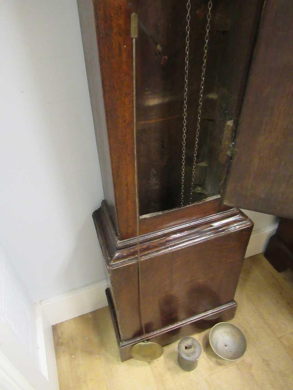 An oak 30 hour brass faced long case clock, maker Worcester - Image 3 of 5