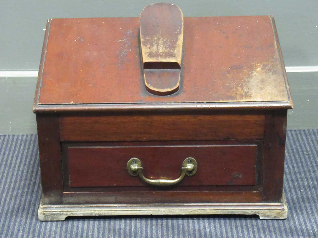 A late 19th century shoe shine box 45cm wide
