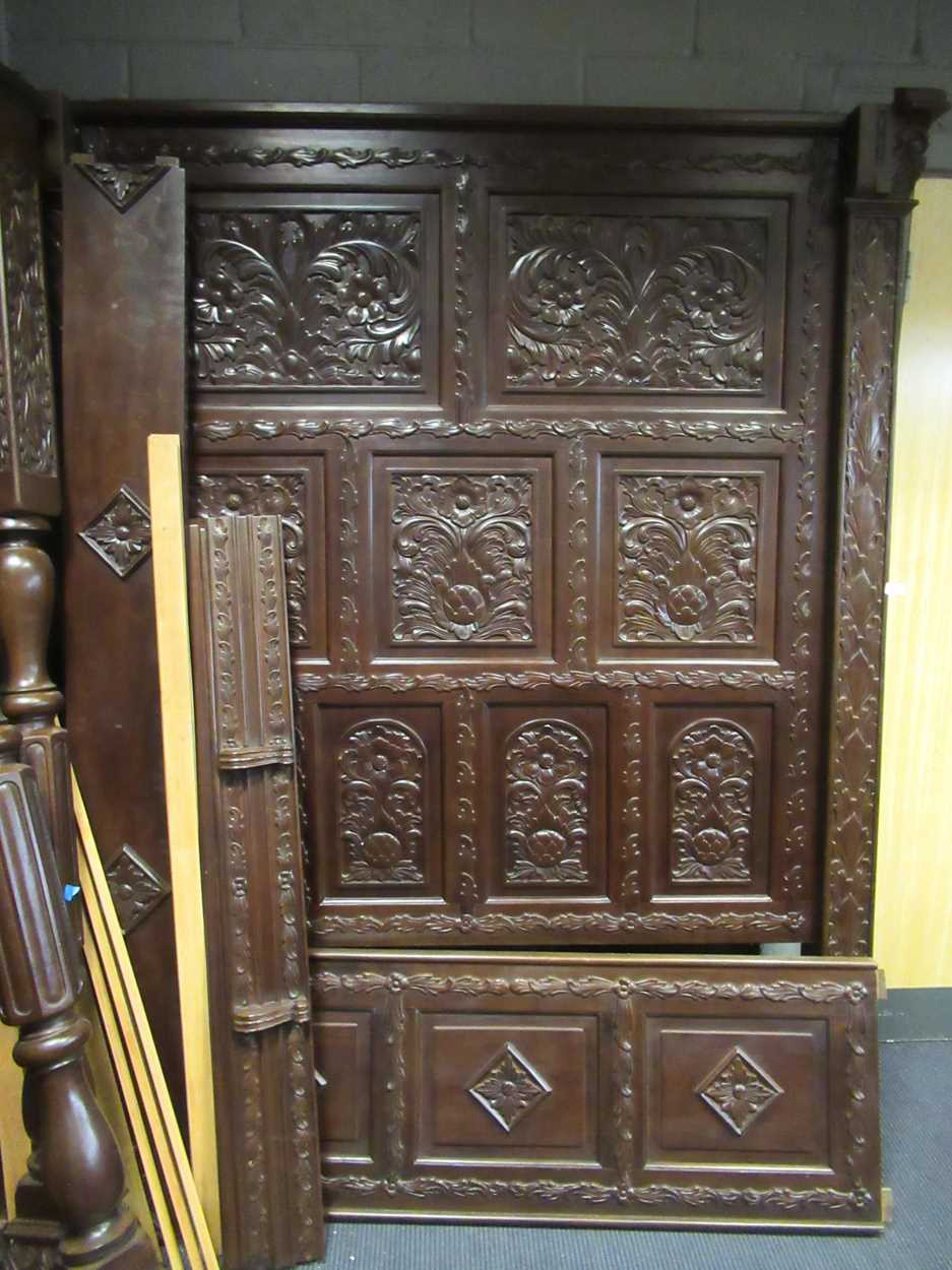 A 17th century style oak four poster bedCondition report: Dimensions approx:216cm high180cm - Image 4 of 4