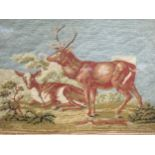 A 19th century needlework picture of deer, 20 x 30 cm, a silk 'Shakespeare' picture, 29 x 24 cm, and