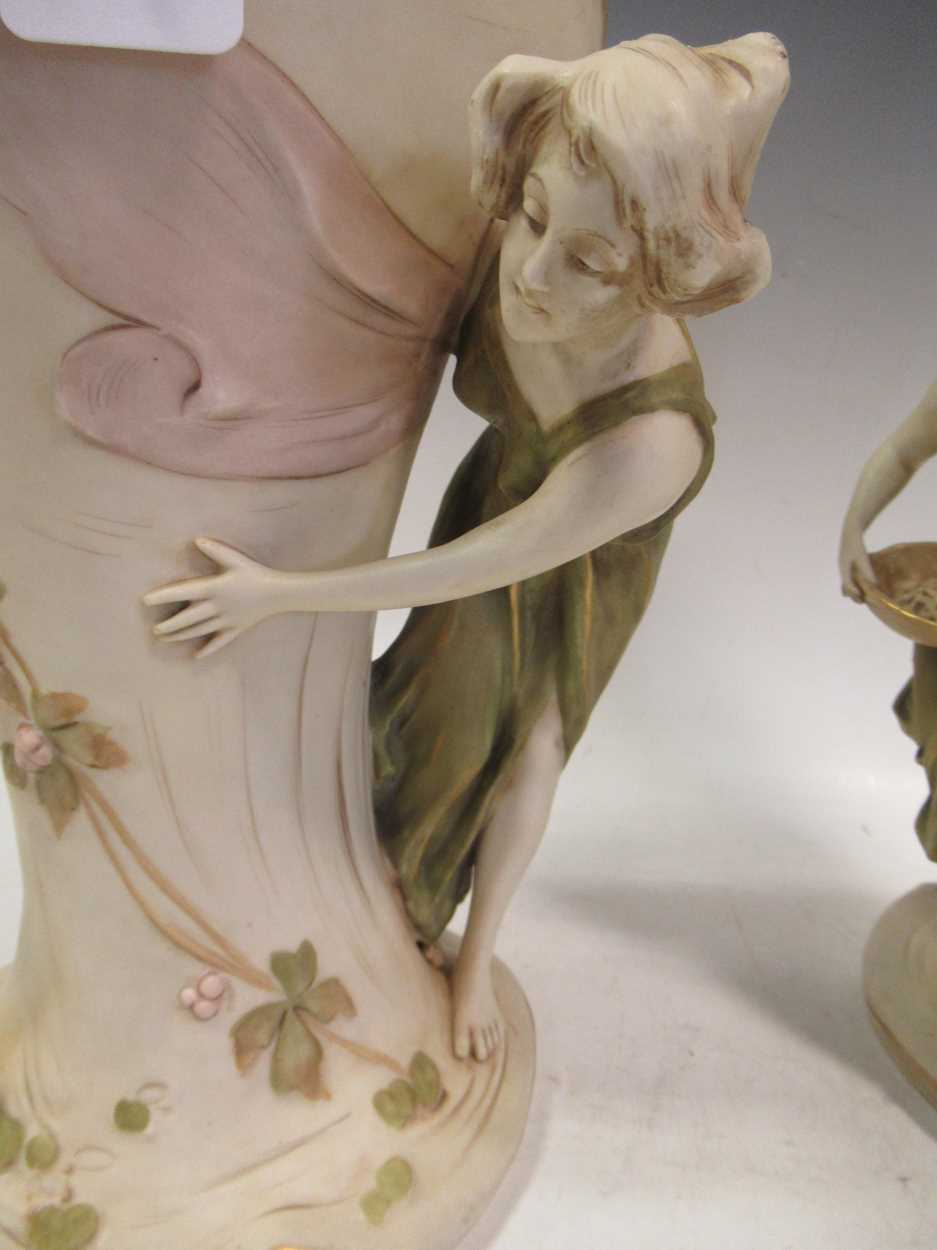 A pair of Royal Dux figural vases, applied pink triangle marks, stamped 1391 & 1392, 35cm high (2) - Image 3 of 7