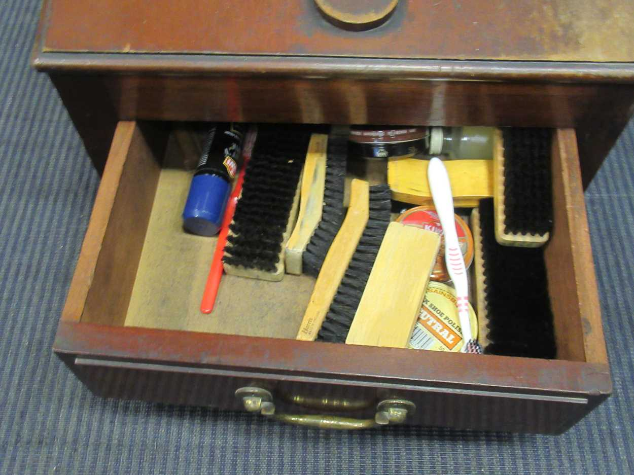A late 19th century shoe shine box 45cm wide - Image 2 of 2
