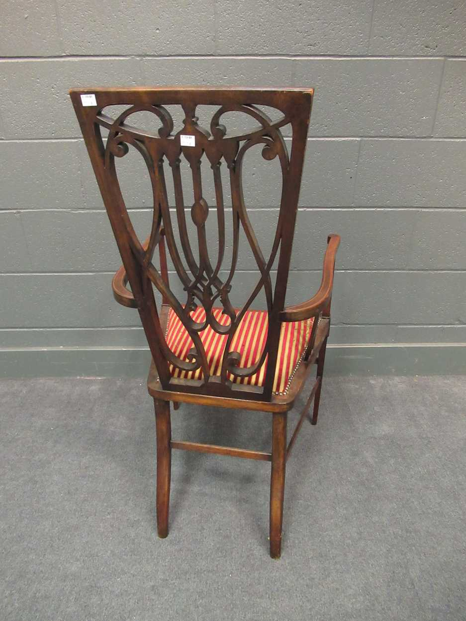 An Edwardian inlaid high-back elbow chair together with an X-frame stool - Image 4 of 15