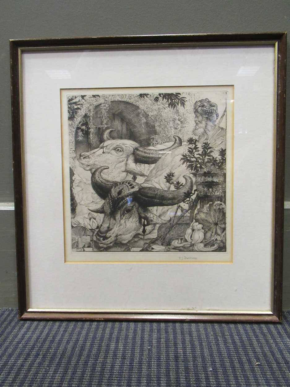Edward Julius Detmold (1883-1957) At the Edge of the Lotus Pool, signed etching, 19.5 x 19.5cm - Image 2 of 3