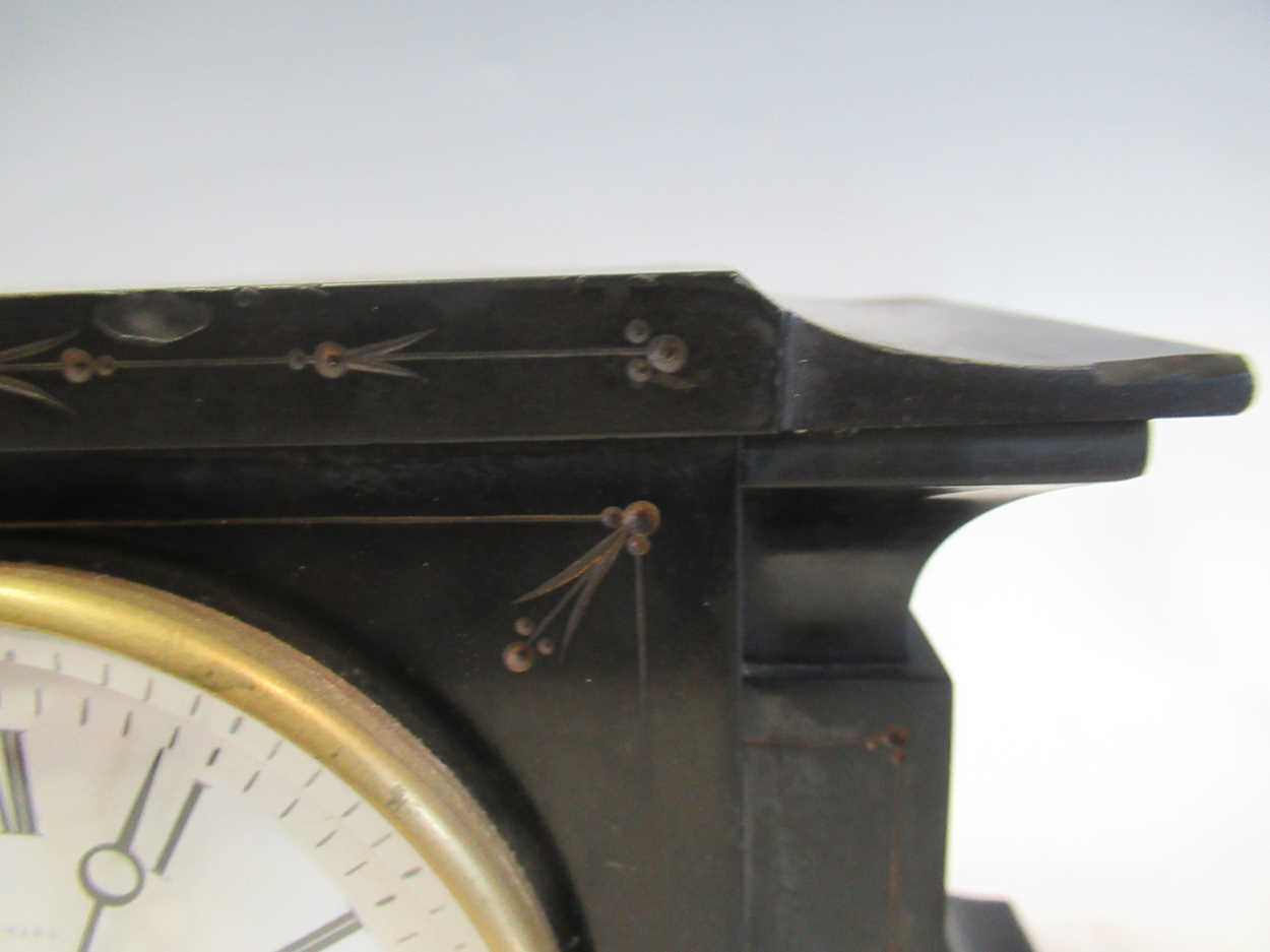 An oak 8-day mantle clock and a slate mantle clock (2) - Image 6 of 7
