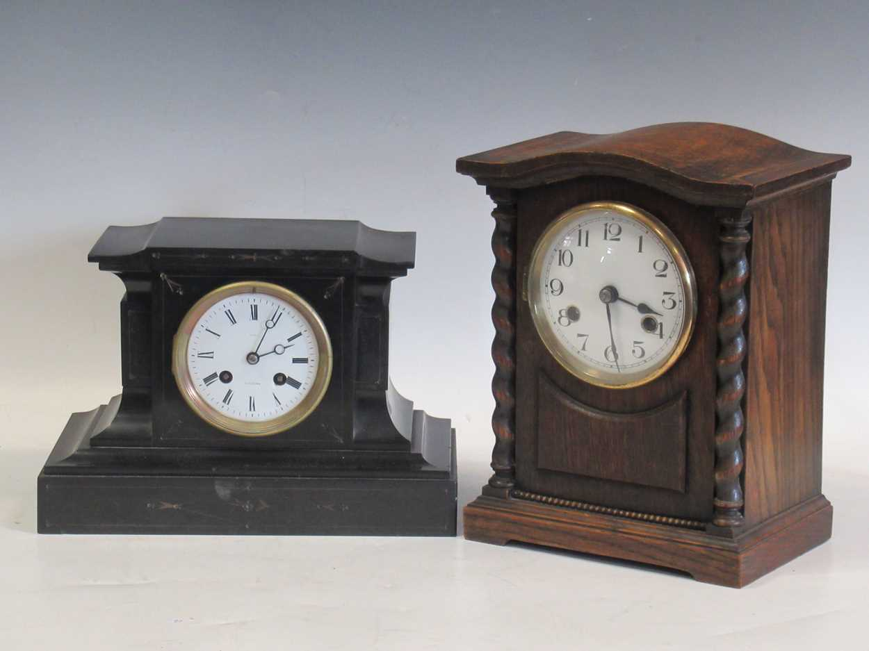 An oak 8-day mantle clock and a slate mantle clock (2)