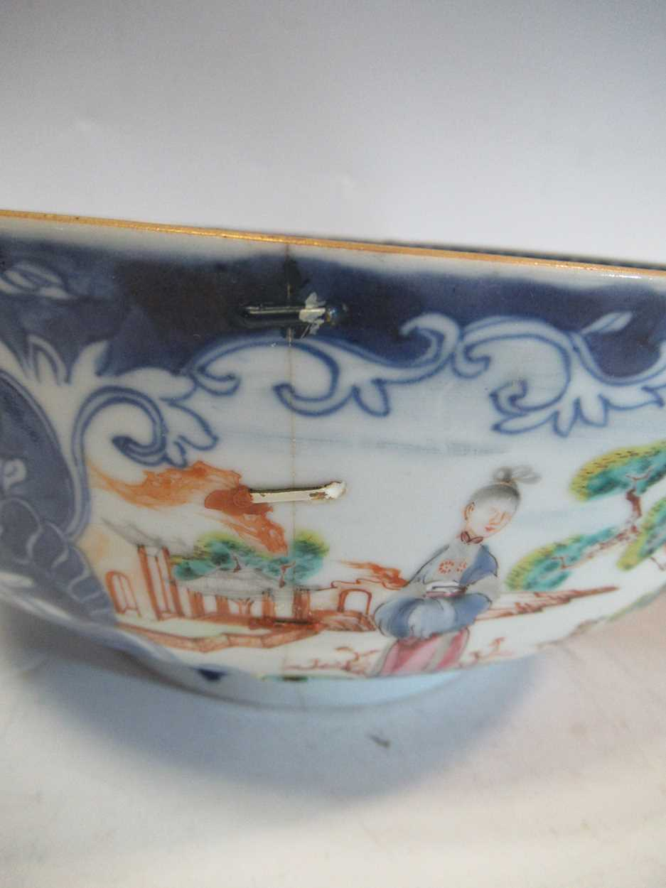 Two Chinese 18th century polychrome bowls, each decorated with courtesans, 29cm and 26cm - Image 3 of 17