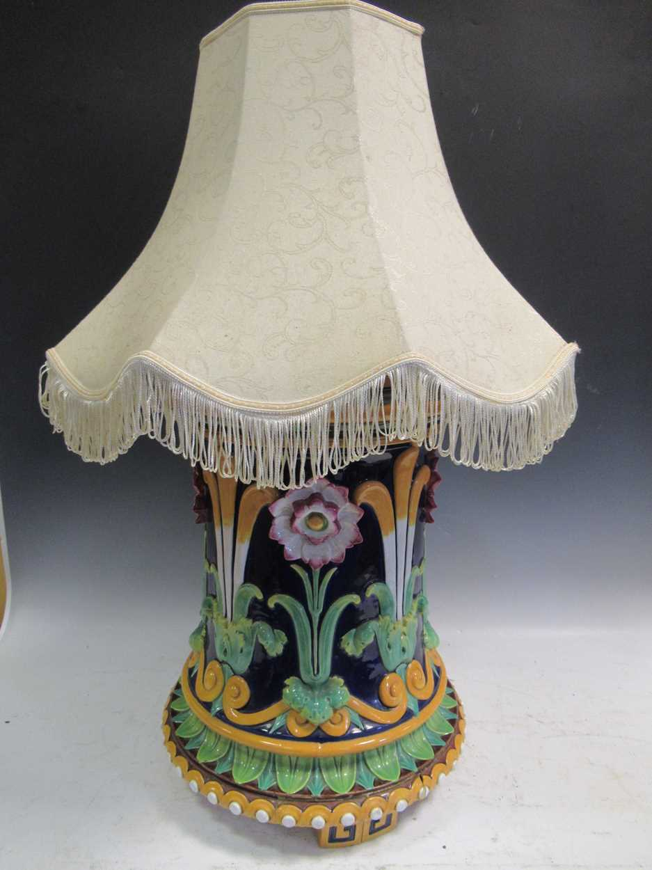Minton majolica jardiniere stand converted to a light, impressed mark, 46cm high (top broken)