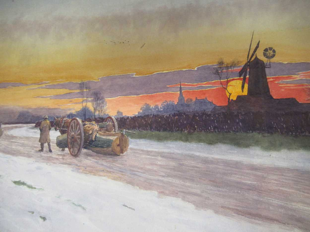 Richard H Brock (British, 1871-1943)Two landscapes with cattle, log hauling in the snow, old boat - Image 5 of 6