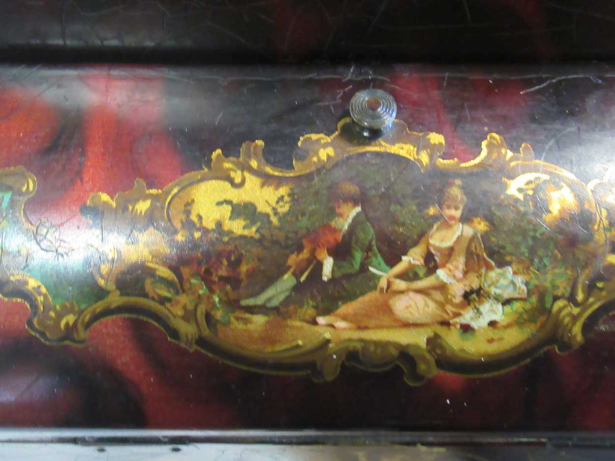 A 19th century string box, a black lacquered bottle coaster, a papier mache and mother of pearl box, - Image 2 of 4
