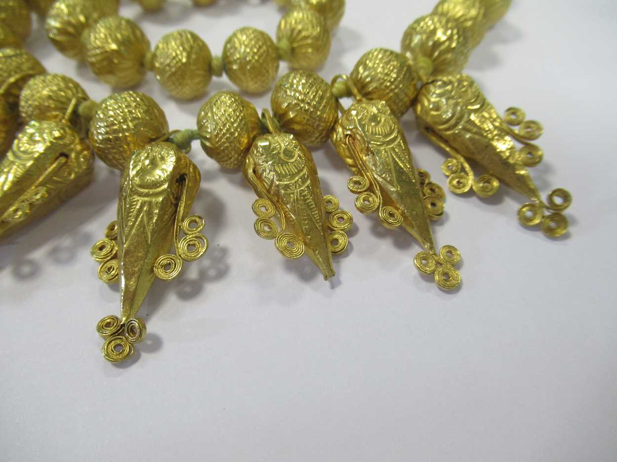 An Indian wax filled bead necklace, tested as 22ct gold, gross weight 83.2g, together with a - Image 14 of 14