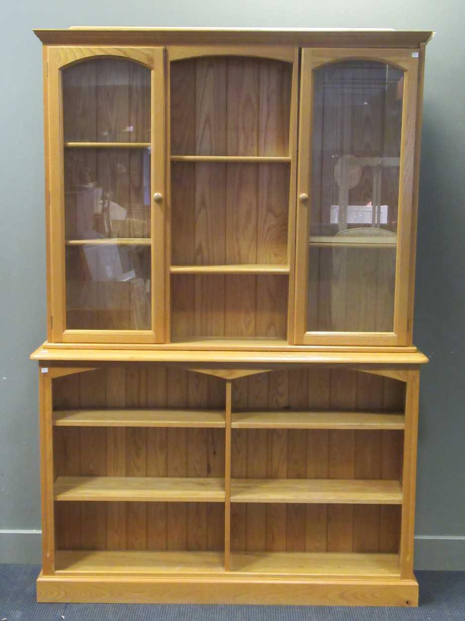 A modern pine dresser with adjustable shelves 227 x 151 x 33.5cm