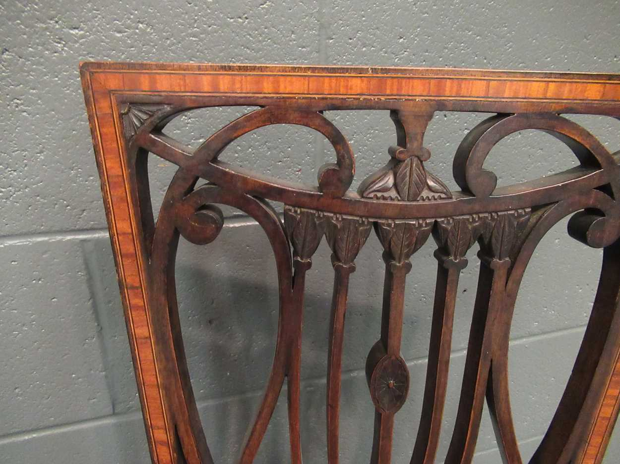 An Edwardian inlaid high-back elbow chair together with an X-frame stool - Image 7 of 15