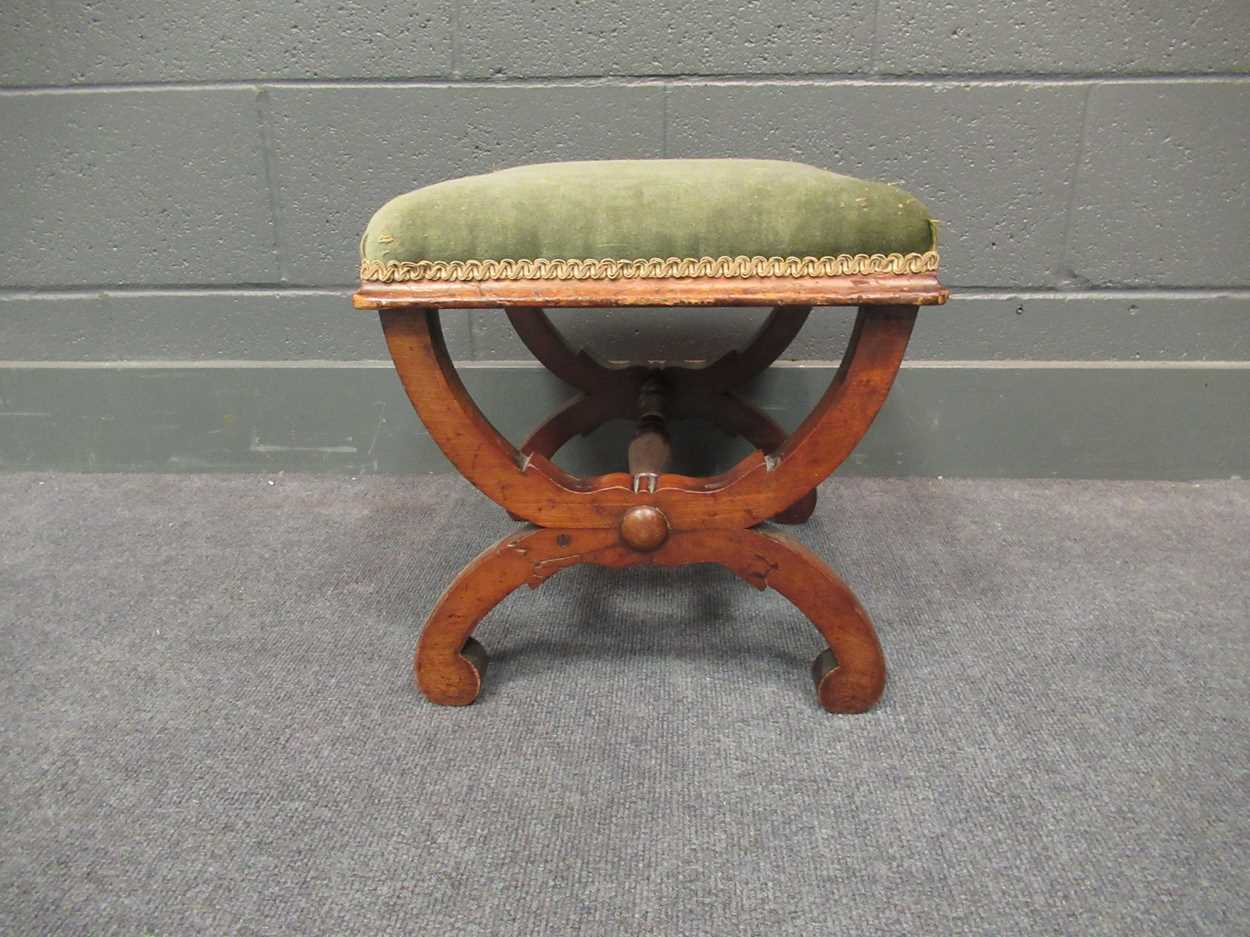 An Edwardian inlaid high-back elbow chair together with an X-frame stool - Image 14 of 15