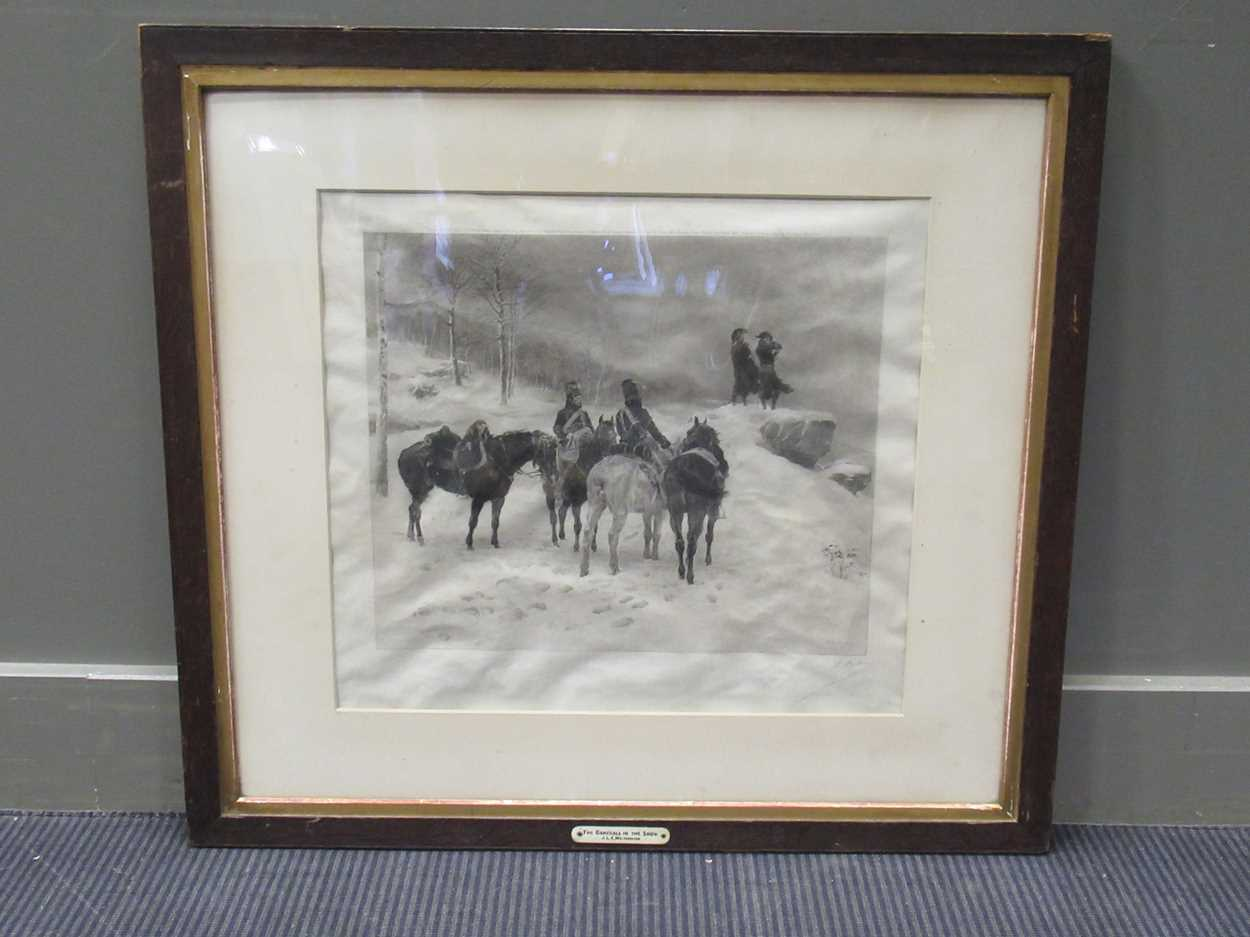 Two large Victorian maple frames, each containing a print, with print 53 x 43 cm, 65 x 45cm together - Image 3 of 3