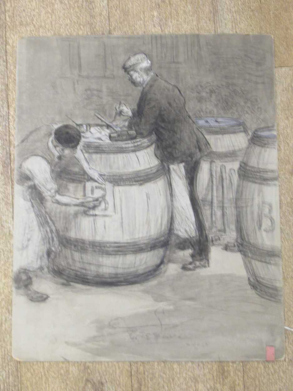 Percy F S Spence (1868 - 1933), Addressing sledge hammers and marking barrels; packing leather - Image 2 of 4