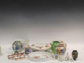 A miniature Meissen vase, a small Moorcroft Orchid pattern vase, a miniature Crown Derby Imari