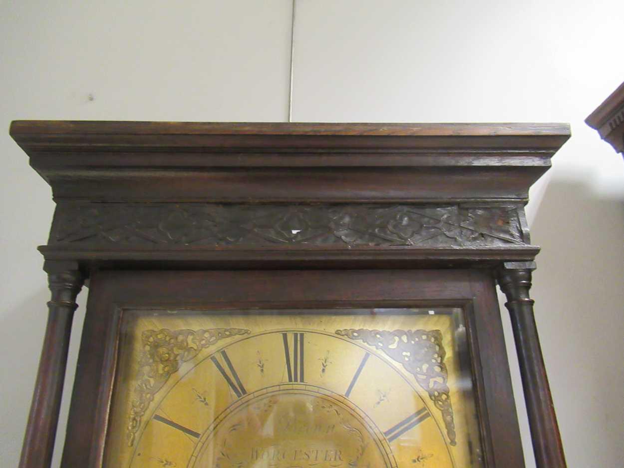 An oak 30 hour brass faced long case clock, maker Worcester - Image 2 of 5