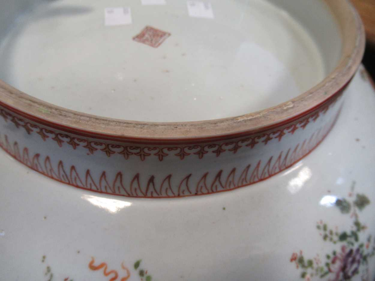 A large Sampson punch bowl, decorated in 18th century Chiense style, 36cm diameterCondition - Image 12 of 14
