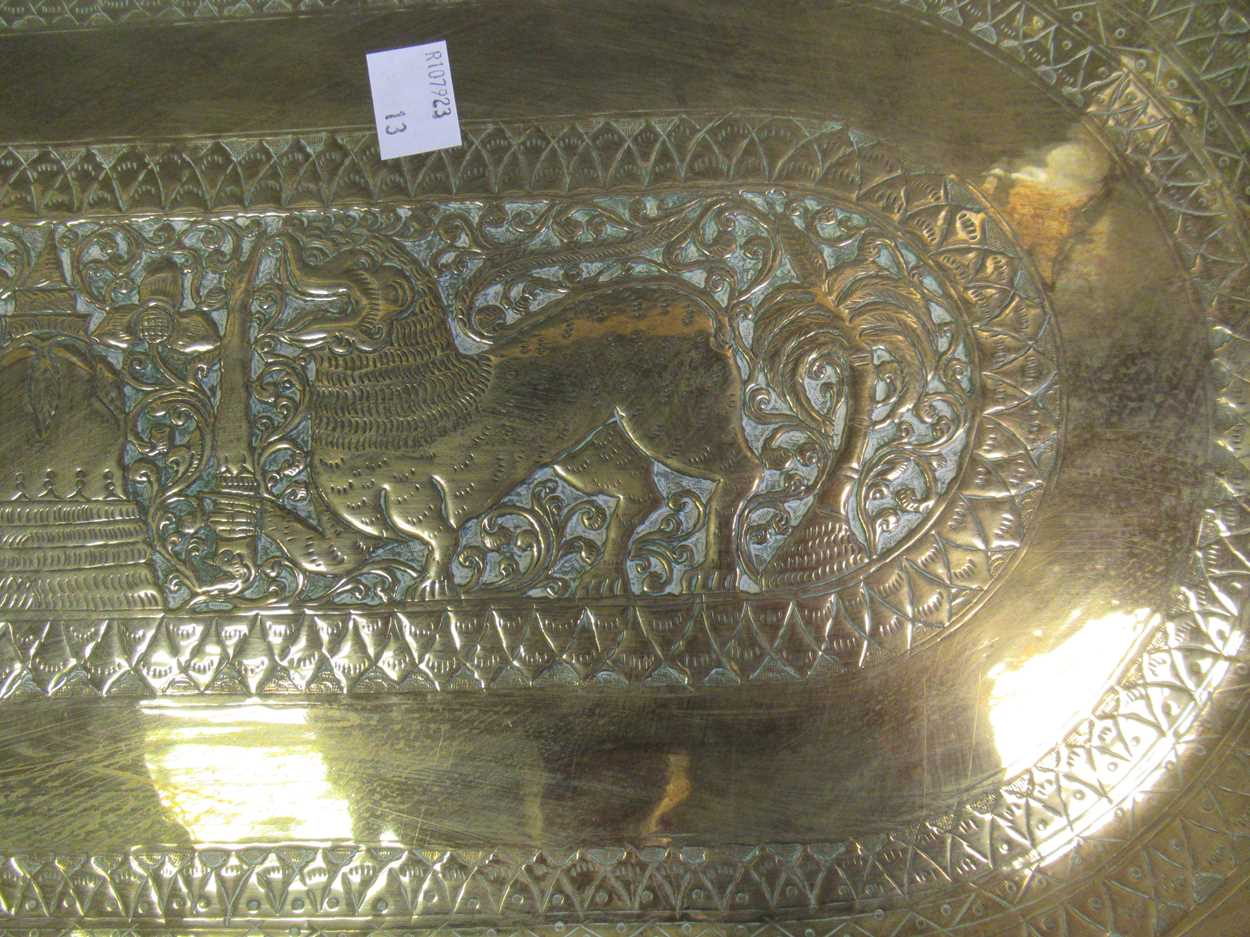 Indian brass tray, Poole vase, pair of twist candlesticks, vases, decanter etc - Image 13 of 14