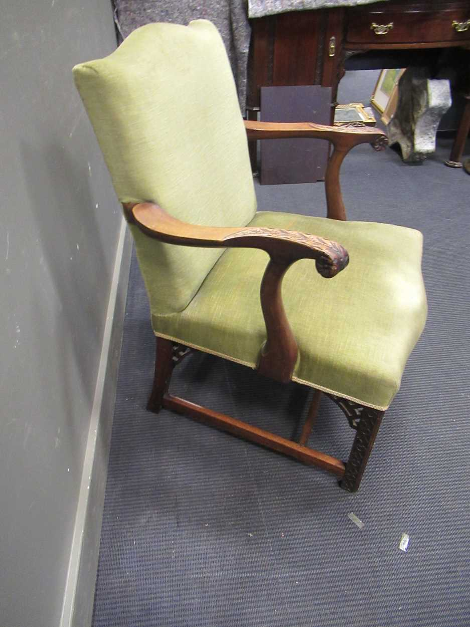 A George III style elbow chair with serpentine back and seat on carved legs with fret carved - Image 4 of 6