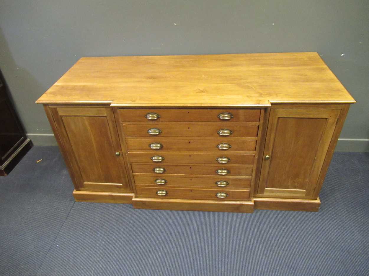 A 20th century blonde oak breakfront plan/ map chest, comprising of seven long drawers flanked by - Image 2 of 6