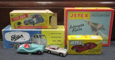 Jetex Interceptor, Shackleton toy car and a Jetex car car