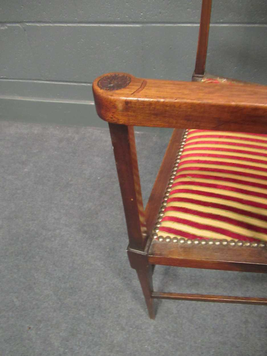 An Edwardian inlaid high-back elbow chair together with an X-frame stool - Image 11 of 15