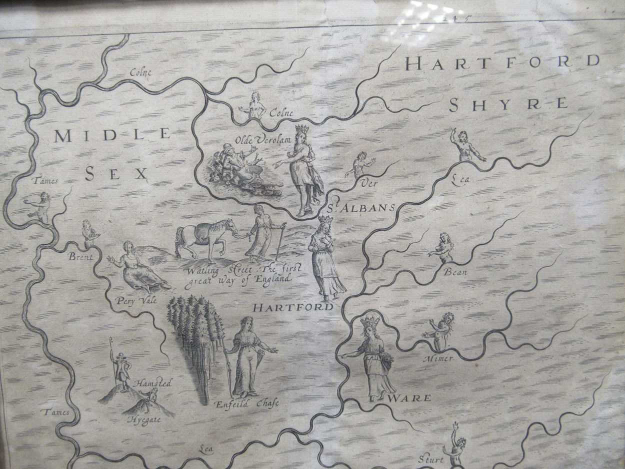Robert Morden map of Hertfordshire, a 1612 map of Hertfordshire, a Johnannes Norden map of - Image 5 of 8