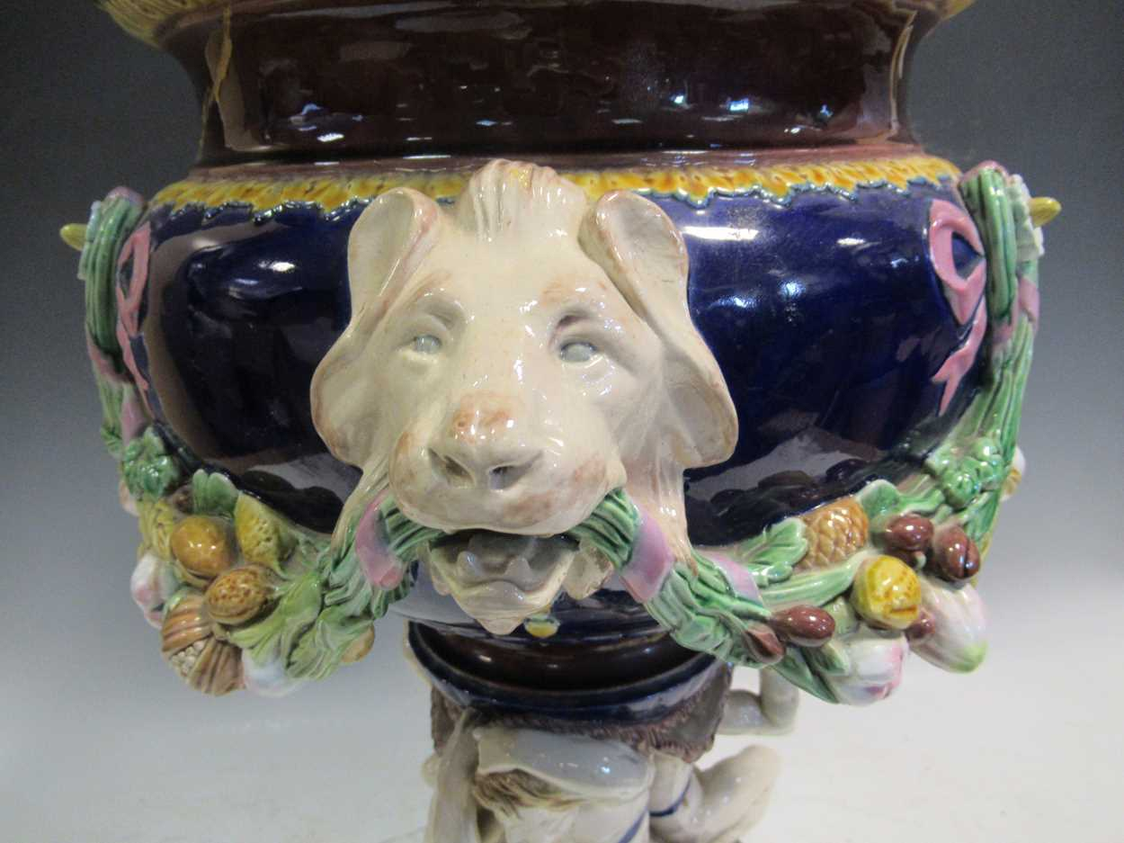 A large Minton majolica vase, moulded with garlands supported by animal heads, impressed mark, - Image 2 of 13